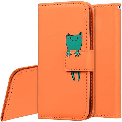 QPOLLY Kompatibel mit Samsung Galaxy A71 Hülle Klappbar Ledertasche,Cartoon Tiere Muster PU Leder Handytasche Ständer Brieftasche Handyhülle für Galaxy A71 mit Kartenhalter,Orange