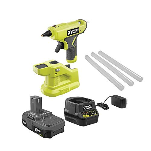 Ryobi ONE+ 18V Cordless Compact Glue Gun Kit with 1.5 Ah Compact Lithium-Ion Battery and 18V Charger