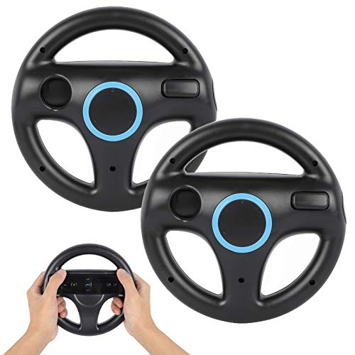 Steering Wheel for Wii Controller, PowerLead 2 pcs Racing Wheel Compatible with Mario Kart, Game Controller Wheel for Nintendo Wii Remote Game-Black