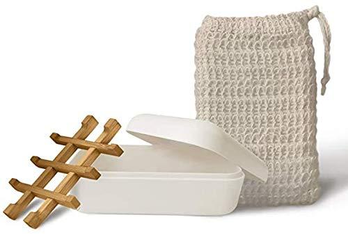 SAMNATE Soap Dish with bag Durable Anti Mould Natural Wooden Bamboo Soap Dish Storage Hold