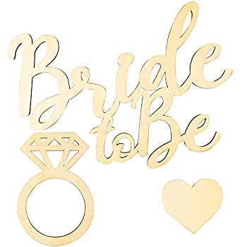 3Pcs Bride to Be Wooden Sign Heart Shape Diamond Ring Wedding Hanging Decor Bachelorette Party Decorations Bridal Sign Wedding Party Favors Photo Booth Props for Wedding Valentine s Day