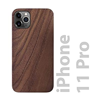 iATO iPhone 11 Pro Case Wood Grain. Real Natural Walnut Wood iPhone 11 Pro Case. Minimalistic Open Top & Bottom Design iPhone 11 Pro Wood Case. Black PC Bumper & Dark Walnut Wood iPhone 11 Pro Case
