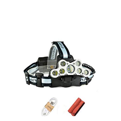 Linterna frontal de alta potencia led linterna frontal 25000 lúmenes 7 LED faro USB 18650 batería cabeza linterna linterna linterna linterna de pesca OrderF