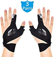 3 Pairs LED Flashlight Gloves, Outdoor Fishing Gloves Fingerless Working Gloves with Lights for Repairing and Working in Dark Place, Outdoor Sports, Fishing, Camping, Hiking, Running (3 Pairs=6 Pack)
