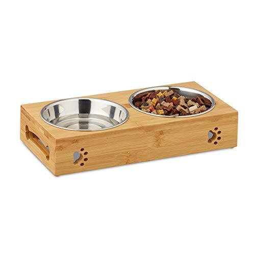 Relaxdays Futterbar für kleine Hunde, 2 Näpfe V je 300 ml, erhöht, Bambus & Edelstahl, HBT: 6,5x31,5x15 cm, Natur/Silber, 1 Stück