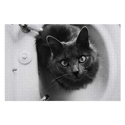 Rompecabezas de 500 piezas para adolescentes y adultos, gato sentado en el lavabo del baño, difícil e inteligente juego de desafío