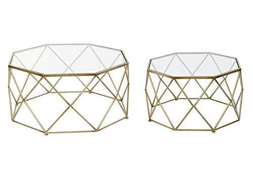 Set de 2 Mesas de Café Octogonales de Metal y Cristal en Dorado y Transparente 83x83x40cm