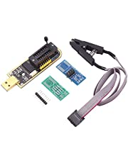 Festnight Programador USB CH341A EEPROM BIOS Flasher Circuitos lógicos programables con clip de flash SOP8 adecuado para chip de la serie 24/25