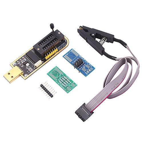 Cucudy CH341A USB Programmer EEPROM BIOS Flasher Circuitos lógicos programáveis com SOP8 Flash Clip adequado para chip da série 24/25