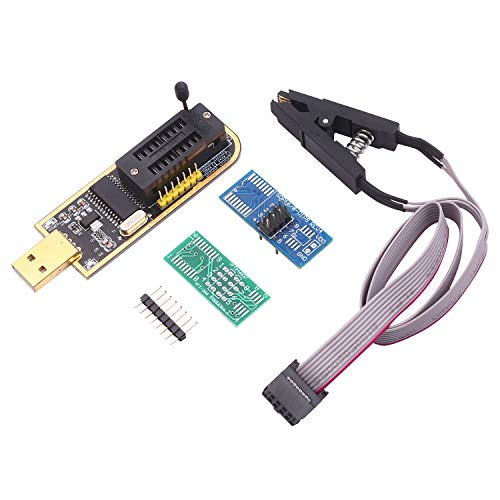 KKmoon CH341A USB Programmer EEPROM BIOS Flasher Programmable Logic Circuits with SOP8 Flash Clip Suitable for 24/25 Series Chip