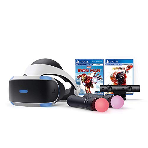 PlayStation VR Iron Man and Star Wars Set, Compatible with PS4 & 5: VR Headset, Camera, Move Motion Controllers, Iron Man, Star Wars: Squadrons and Tivdio Microfiber Cleaning Cloths
