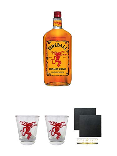 Fireball Whisky Zimt Likör Kanada 0,7 Liter + Fireball SHOT Gläser mit Schriftzug 1 Stück + Fireball SHOT Gläser mit Schriftzug 1 Stück + Schiefer Glasuntersetzer eckig ca. 9,5 cm Ø 2 Stück