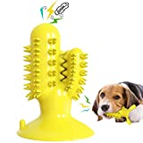 Dog Toothbrush Toys Cactus Dog Chew Toys Dog Teeth Cleaning Stick Squeaky Dog Toys for Small Medium Dogs & Puppies (Yellow)