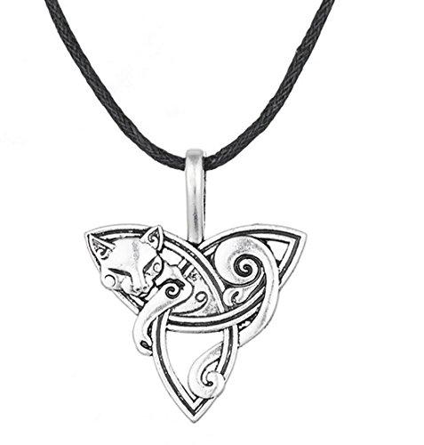 Skyrim Halskette mit Fuchs-Anhänger, Triqueta-Anhänger, modisch, elegant, Geschenkidee für Damen und Herren