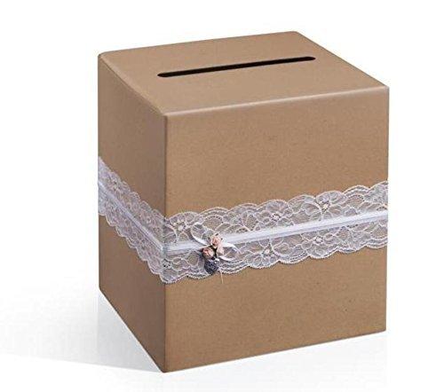 Geldbox/brievenbus/bruiloftsdoos in bruin in vintagestijl met witte kant - ideaal voor envelops, bruiloftskaarten en geldgeschenken voor uw bruiloft