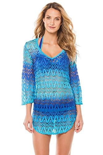 Elif Women's Crochets Ombre Crochet V-Neck Tunic Swim Cover Up Ultramarine L