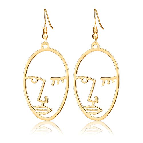 Jovivi Women Long Dangle Drop Earrings Gold Human Face Geometric Abstract Art Hollow Wrap Pin Vine Stud Earrings Fashion Jewellery for Women Girls Birthday