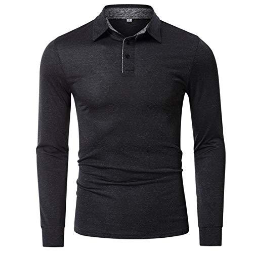 Poloshirt Herren Slim Fit Tops Klassik Langarm Polohemd Moderne Golf T-Shirt...