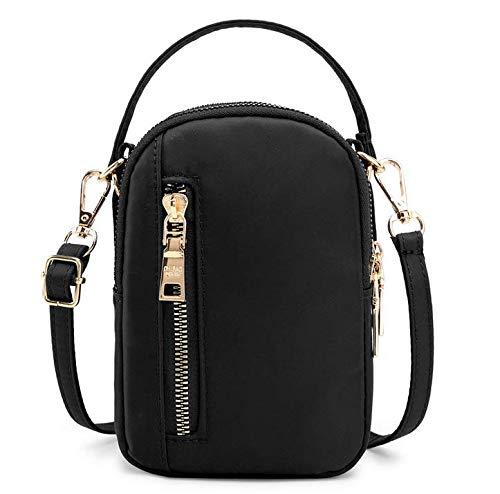 Damen Handtasche mit 3 Schichten für LG G8 ThinQ / G7 ThinQ/LG V50 ThinQ / V40 ThinQ/LG V35 ThinQ/LG Stylo 4 / Google Pixel 3 XL/Huawei P30 / Mate 20 / SE, schwarz