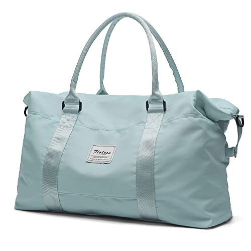 Bolsa de lona de viaje, bolso tote, bolsa de deporte para gimnasio, bolsa de hombro para la noche, para mujer, con bolsillo impermeable, color azul claro