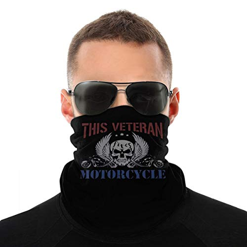 This Veteran Loves Motorcycles Military Biker Unisex Neck Gaiter Face Mask Warmer Mouth Cover Windproof Sports Bandanas White