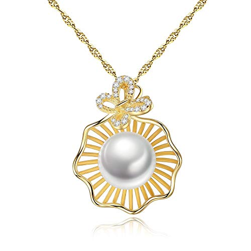 Madeinely - Collar de plata 925 y oro rosa calado, diseño de concha calada que crea grandes perlas blancas de 16 a 18 pulgadas con ropa adecuada