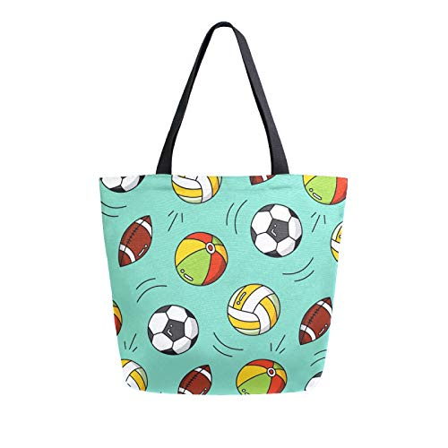 iRoad Women Canvas Bags Cartoon Football Rugby Shopping Purse Handbag Reusable Grocery Bags Large Canvas Bag Tote for Travel School Work
