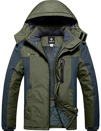 GEMYSE Men's Mountain Waterproof Ski Snow Jacket Winter Windproof Rain Jacket (Army Green,Medium)