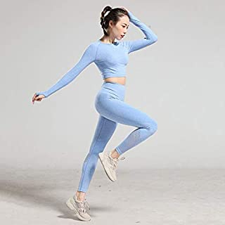 Beiziml Seamless Workout Clothes Women's Tracksuit Fitness Sportswear High Waist Gym Leggings Long Sleeve Crop Top 2 Pcs Y...