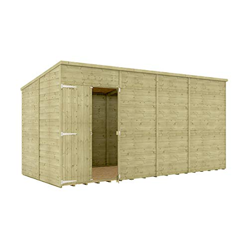 14 x 6 Pressure Treated Hobbyist Pent Shed Tongue & Groove Shiplap Cladding Construction Windowless Offset Door OSB Floor Wooden Garden Shed 4.26m x 1.82m