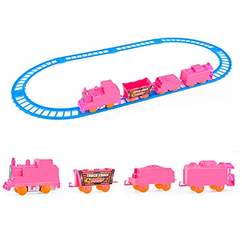 Delisouls Battery Powered Train Race Track, Electric Railway Train Toy, Race Car Tracks Set for Kids, Operated Car Railway Building Play Set for Boys Girls Kids