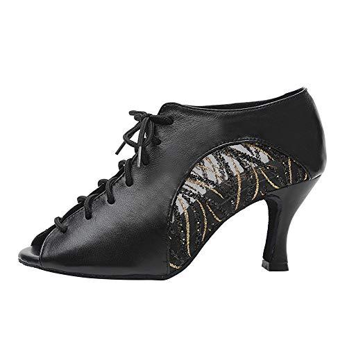 HROYL Zapatos de Baile de Salon Latino Mujer Comodos Tacon Alto Salsa y Bachata,Modelo YCL264-8.5-5059-Negro,EU 36