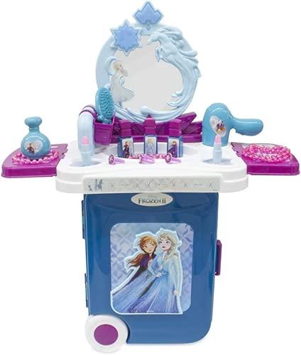 Tocador para niñas Frozen Con LUZ, Juego de belleza para niñas Frozen, Este maleta plegable frozen se convierte en tocador en 2...