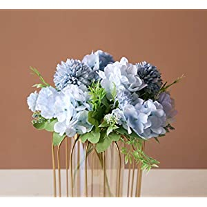 SHINE-CO LIGHTING Artificial Peony Fake Flowers Silk Hydrangea Bouquet Carnations Faux Flower for Home Office Wedding Decoration 2 Packs (Blue)
