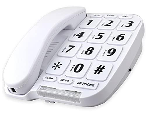 Hjyuik Jumbo Big Button Home Teléfono/Blanco/Manos Función Libre/Volumen Ajustable/Número Memoria Y Función De Redial/Teléfono De Escritorio