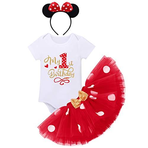 FYMNSI, set di abbigliamento per il primo primo compleanno, da bambina, in cotone, a maniche corte, con tulle a pois, gonna e fascia per capelli, 3 pezzi Rosso 1° compleanno 1 Anni