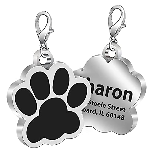 Fibernail Custom Paw Print Dog Name Tag, Personalised Engraved Pet ID Tags, Cat Tags, Sparkling Glitter Paw Shape Dog ID tag for Cats Little Dogs( Black)