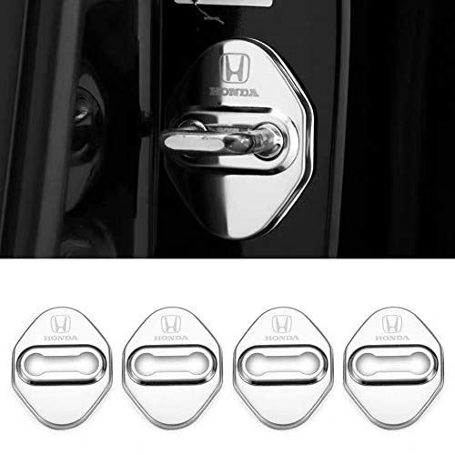MAXDOOL Stainless Steel Car Door Lock Latches Cover Protector for Honda Civic Accord City FIT CR-V XR-V UR-V Odyssey Crosstour Vezel, 3M Adhesive Backing( Pack of 4) (Silver)