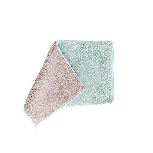 Sukisuki Dual-color absorbant Serviette à laver Plat Chiffon de nettoyage Rag Serviette de toilette, Polyester, Green + Coffee, Taille unique