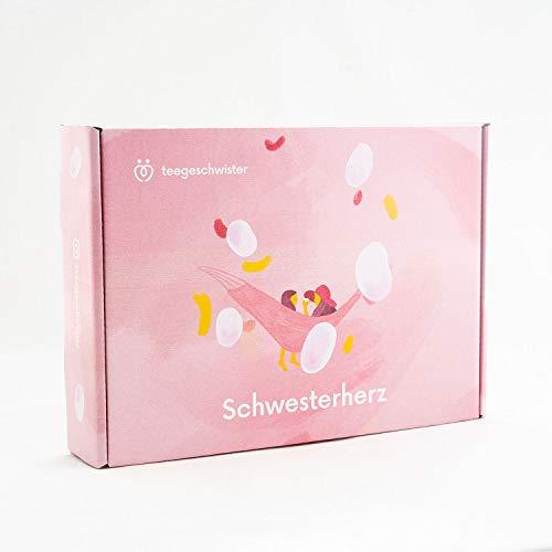 teegeschwister® Schwesterherz Wellness-Geschenk-Box | Geschenk-Idee für Schwester oder beste Freundin | mit BadeFee Badetaler und personalisierbarer Geschenkkarte