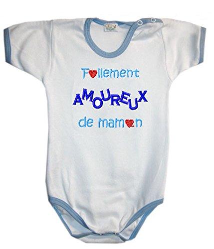 Zigozago - Body Bèbè à Manches Courtes pour bébé avec Broderie FOLLEMENT Amoureux DE Maman Taille: 3-6 Mois - Couleur: Bleu