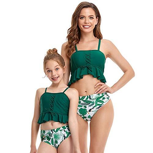 GGXX Bikini con Hombros Descubiertos para Mujer Top con Volantes y Volantes con Parte Inferior Hipster Dos Piezas Traje de baño para Madre e Hija Bikini para niños y Adultos
