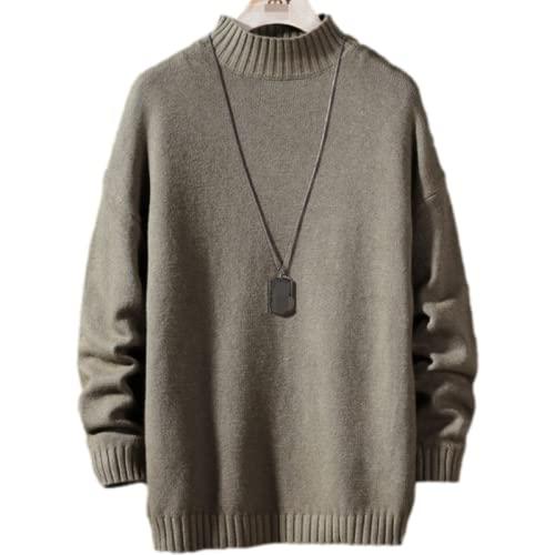 Suéter de Cuello Redondo Informal de Talla Grande de Color sólido para Hombre Otoño e Invierno Suéter de Moda Simple Tendencia Personalidad L