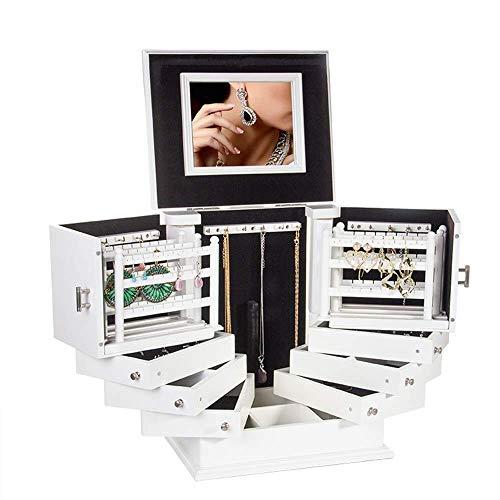 WOZUIMEI Cajas de Joyería de Madera Grandes Cofre de Joyería Ajustable Giratorio con Caja de Baratija Blanca de Gran Capacidad de 9 Capas