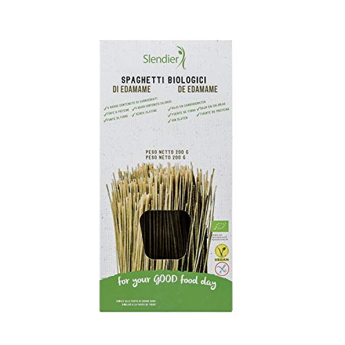 Slendier Espaguetis De Edamame Bio Sin Gluten, Pasta Hipocalórica, 200 Gramo