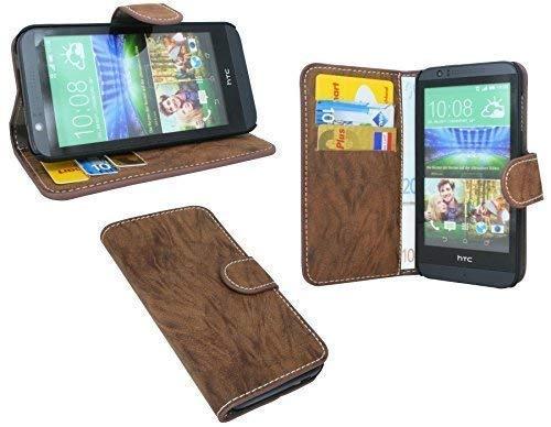 ENERGMiX Elegante Buch-Tasche kompatibel mit HTC Desire 510 in Braun Wallet Book-Style
