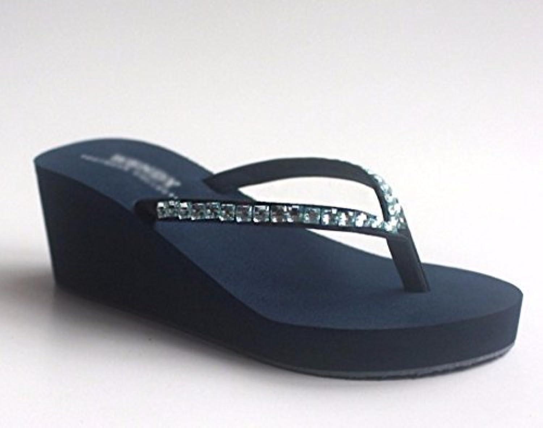 FUWUX Sommerfrauen-Flipflops künstlicher Diamant-Absatz Anti-slipSlope Strand (Farbe   Blau, Blau, Blau, Größe   6 US 36 EU 3.5 UK) eb3