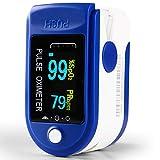 Oxímetro Dedo con Pantalla LCD Pulsioxímetro de Pulso para Medición de SpO2 con Alarma y 4 Direcciones Giratorias para Adultos y Niños (Blue)