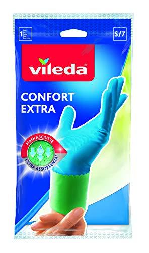 Vileda Comfort und Care Gummihandschuhe mit Kamille Lotion Größe S, 1 Paar