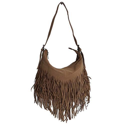 Jennifer Jones Kollektion - große Fashion Fransen Vintage Damentasche Schultertasche Umhängetasche mit Reißverschluss - präsentiert von ZMOKA®